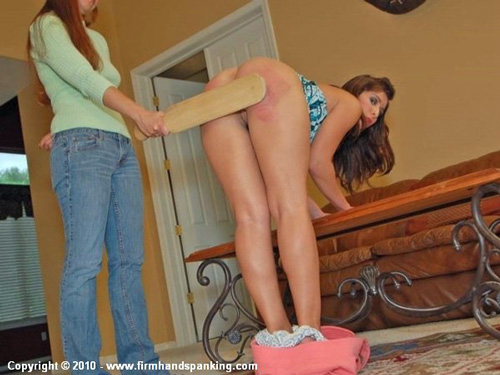 10 bare bottom strokes from the school paddle leave Michaela McGowen very sore