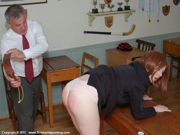 Helen Stephens bends over and gets strapped with the leather tawse