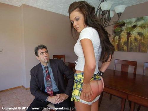 Brand new spanking model Sabrina Scott shows her red bottom after her OTK session