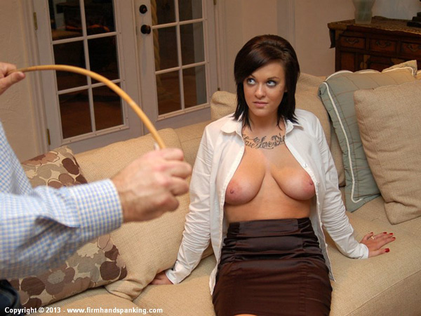 Valerie Bryant talks herself into a topless caning for her last ever punishment