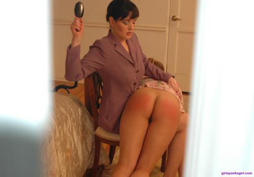 Alicia spies Aunt Bella spanking Alanah through the crack in the door