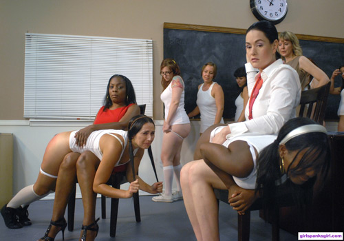 Mandee Miller getting spanked OTK by Snow Mercy with Nena going over Principal Miller's knee