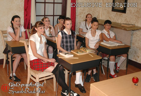 The original all-girl class of the Exclusive Education spanking movie