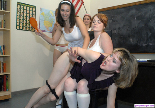 Teacher Clare Fonda gets spanked by the whole class of students