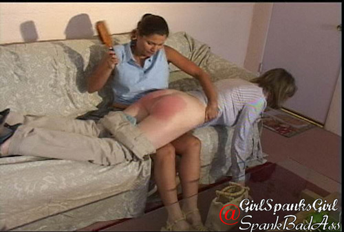Chelsea Pfeiffer spanks Clare Fonda OTK with a hard hairbrush