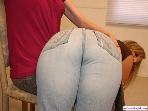 Lily Anna's big bottom lies OTK in her tight-fitting jeans