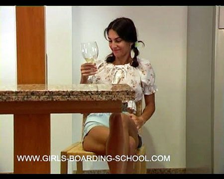 Naughty Lisa gets caught drinking wine and is given the belt on her bare ass
