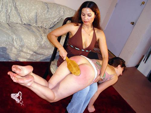 Chelsea Pfeiffer paddles Lena Ramone's bare bottom OTK