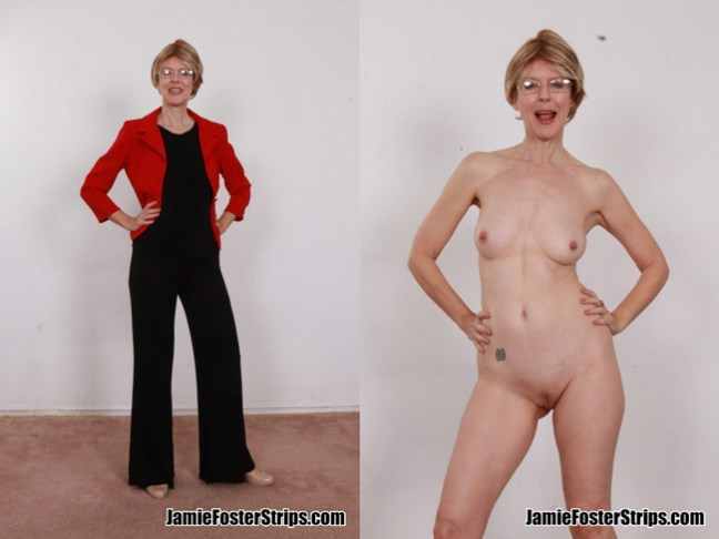 Jamie Foster stripping naked as a kinky Liz Warren