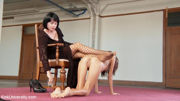 Janice Griffith becomes a table for her mistress