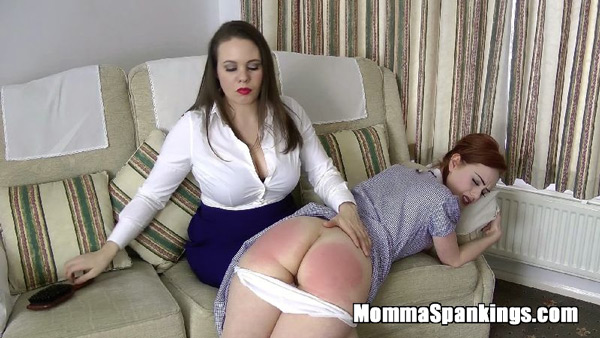 Sexy mommy Aleesha Fox reaches for the hairbrush for Ella Hughes' bare bottom
