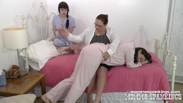 Miss Elizabeth spanks Sarah Gregory OTK in her pajamas