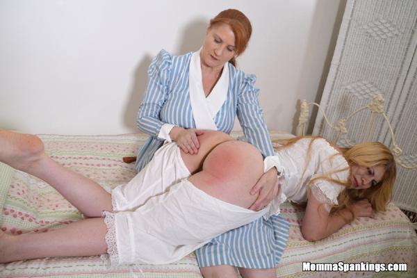 Momma spanks Harley's bare bottom in dropseat pajamas