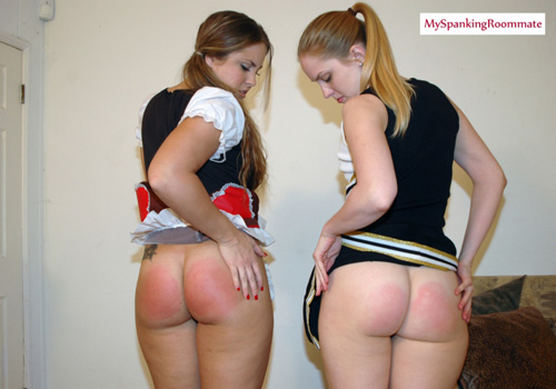 Madison Martin and Chloe Elise inspect their spanked bottoms together