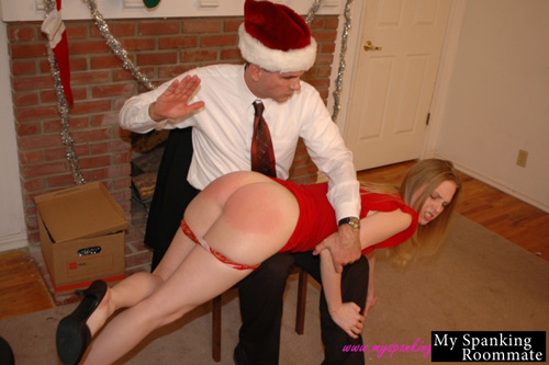Chloe Elise gets a sound OTK hand spanking at Christmas