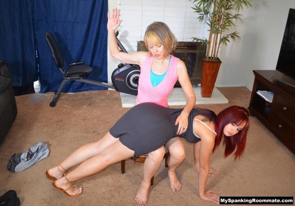Clare Spanks Her Roommate Kira OTK