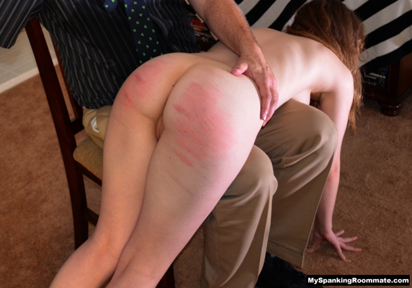 After her caning Alaina Fox gets an OTK hand spanking