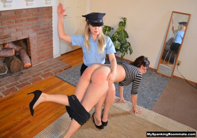 Kay Richards is spanked first over her shorts and on her big bare bottom