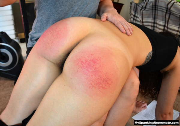 Alex's big latina bottom gets spanked until it's speckled with a hint of hairy pussy visible between the thighs