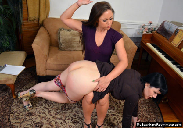 Madison Martin spanks Snow Mercy's white bottom OTK on the bare