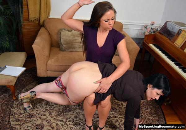 Madison Martin spanks Snow Mercy's white bottom OTK on the bare