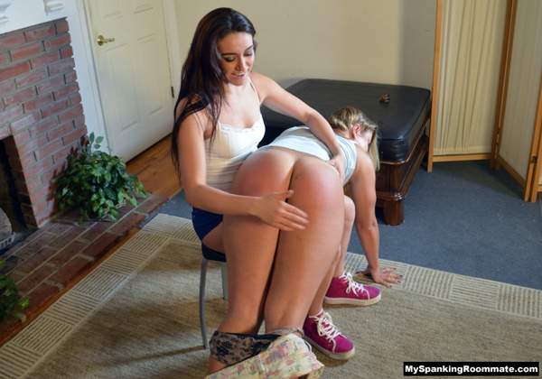 Madison Martin's shorts get pulled down and her big ass gets spanked bare OTK