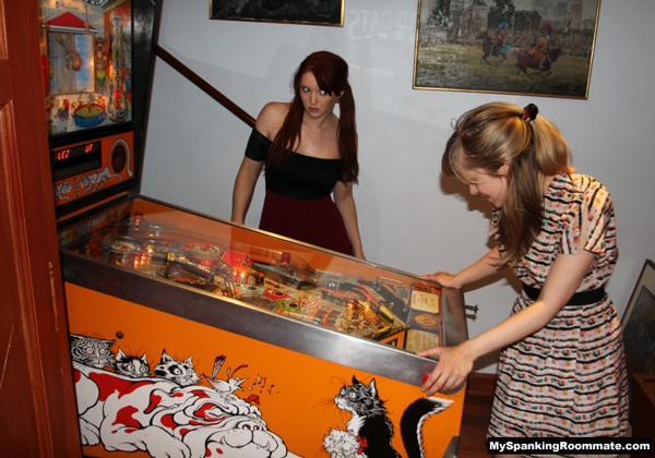 Missy Rhodes gets caught playing pinball by Veronica Ricci at My Spanking Roommate