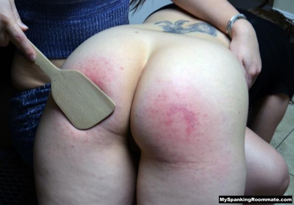 Dani finishes Kay's punishment with a Spatula Spanking