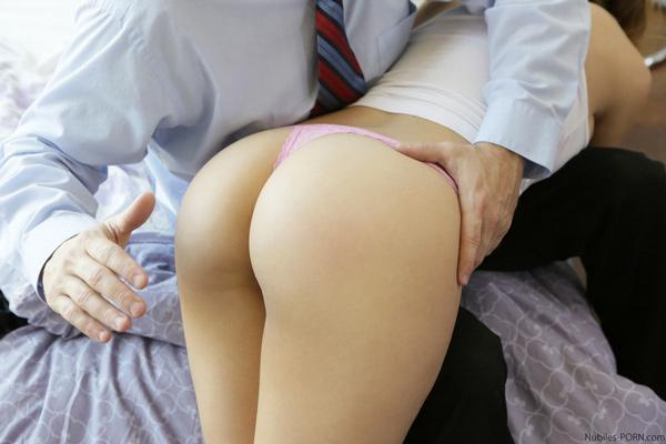 Preston spanks Bea's delicious thong-clad ass