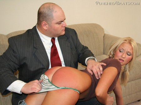 Juliet gets her perfect bottom spanked a lovely red color over the knee