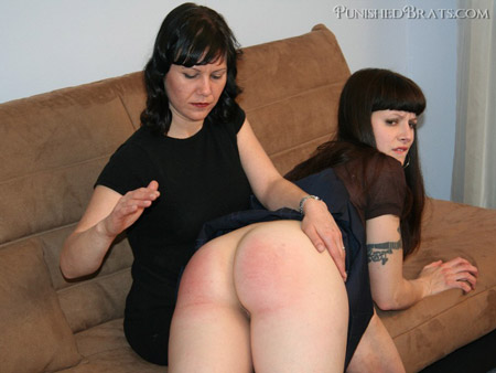 Veronica spanks naughty Beverly Bacci OTK