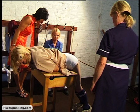 Two naughty schoolgirls are spanked and caned by the teacher and the school nurse