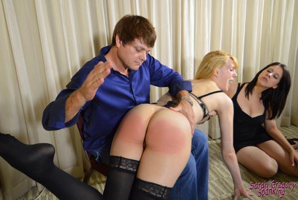 Tall, blond maid Amelia Jane Rutherford gets spanked OTK