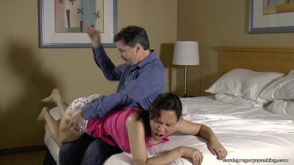 Audrey Sugarsmak gets spanked OTK in Spanking Wake-Up Call