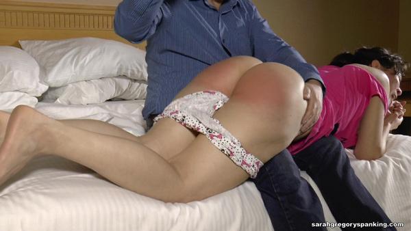 Audrey Sugarsmak's big round bottom gets spanked bare