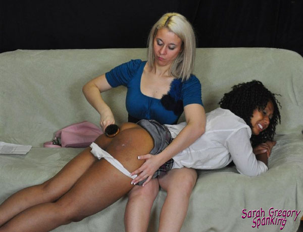 Finally Sarah uses the hairbrush on ebony Dani Hunt's round bottom