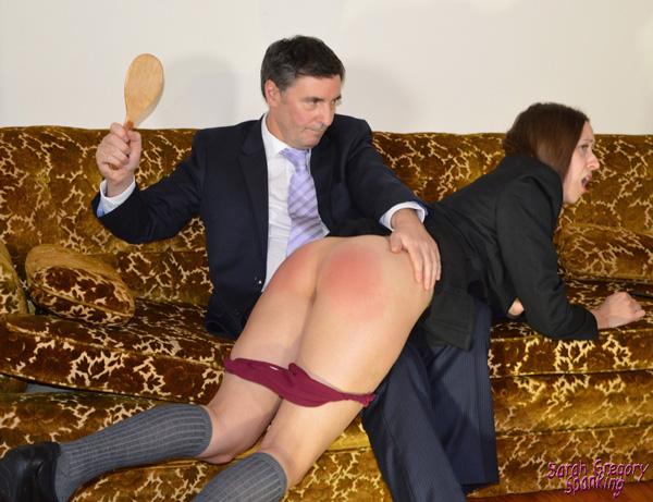 John spanks naughty Joelle's bottom over his knee