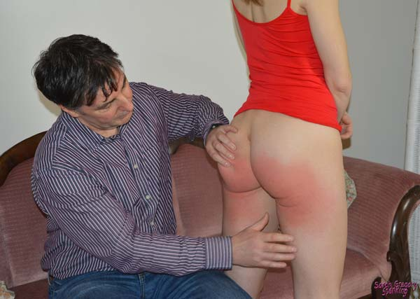 Lily Swan gets her sore red bottom inspected by John