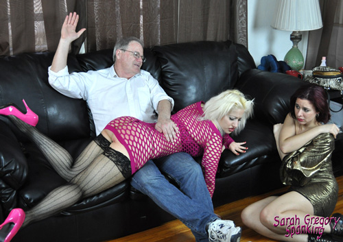 Pretty blonde gets her big, round bottom spanked hard as Sarah watches