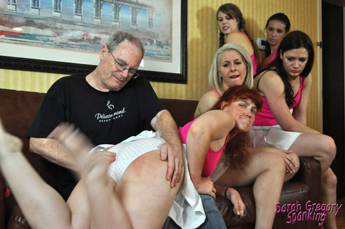 Shay Elizabeth gets spanked over the knee by Coach in Tennis Team Trouble