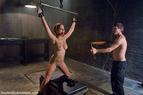 Angel Cummings gets her tits whipped in bondage