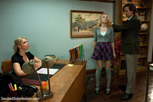 The dean begins his correctional tactics on the naughty blonde student, Emma Haize