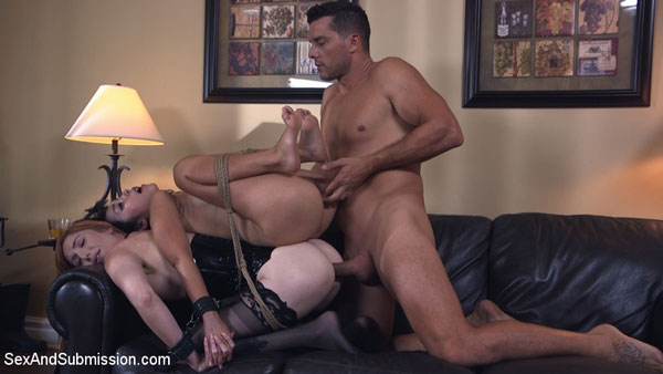 Ramon ass-fucks his wife Lauren Phillips with her tied up in bondage and Marica on her back
