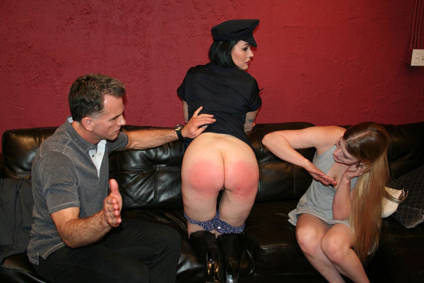 Steve and Harley spank Snow Mercy together with their hands in Caught Red-Handed
