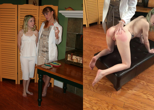 Nikki Rouge gets Violet's anus ready for the enema in The Clinical Approach