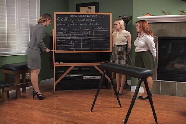 Summer Hart and Violet October attend the classroom self-improvement seminar held by strict Nikki Rouge