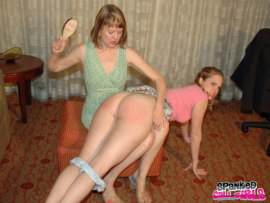 Clare Fonda spanks pretty callgirl Chloe Elise with a hairbrush
