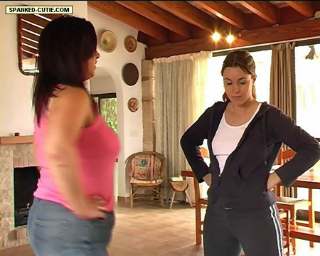 Spanked Cutie Sophie is told off during her workout