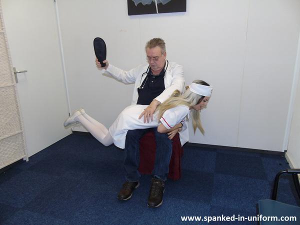 Naughty Nurse Punished OTK with Dr Johnson's slipper