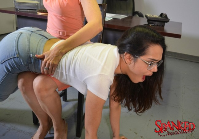 Esperanza Del Horno looks adorable in glasses getting spanked at Spanked Sweeties